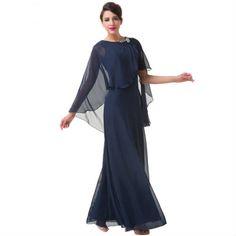 שמלת ערב צנועה ואלגנטית בצבע כחול.  מבד שיפון