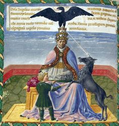 Miniature of Pope Gregory XII. 15th C.  Pope Gregory XII (1406-1415), resigned in 1415 in order to end the Western Schism, which had reached the point where there were three claimants to the Papal throne: Roman Pope Gregory XII, Avignon Antipope Benedict XIII, and Pisan Antipope John XXIII. Before resigning he formally convened the already existing Council of Constance and authorized it to elect his successor. (via wikipedia)
