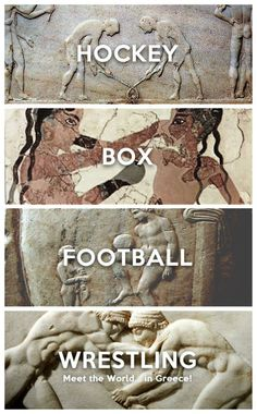 Meet the World in Greece Hockey: Keritizein Boxing: Pygmahia Football: Episkyros Wrestling: Pali χόκεϊ: Keritizein Boxing:. Ancient Greek Art, Ancient Greece, Wrestling Memes, Greek Wrestling, Football Is Life, Football Soccer, Greek Design, Boxing Girl, Wtf Moments
