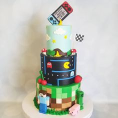 "Honey Bee Cakes on Instagram: ""Video Game Cake 🎮"" Zelda Birthday, 21st Birthday Cakes, Novelty Birthday Cakes, Birthday Games, 6th Birthday Parties, Birthday Ideas, Video Game Cakes, Video Game Party, Cake Videos"