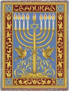 - Beautiful tapestry throw is made in the USA. - Nearly photo realistic - Perfect blend of art, decor, and function - Special order item - Ships within weeks. Description This beautiful tapestry t Hanukkah Menorah, Hannukah, Happy Hanukkah, Kwanzaa, Jewish Crafts, Jewish Art, Jewish Celebrations, Jewish History, Festival Lights