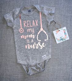 Relax my mom is a nurse onesie baby onesie baby boy onesie baby girl onesie baby tee custom baby onesie baby shower gift i m not crying i m ordering dinner baby bodysuit breast feeding bodysuit funny bodysuit Custom Baby Onesies, Newborn Onesies, Baby Shirts, Baby Girl Newborn, Baby Boys, Baby Boy Gifts, Baby Shower Gifts, Carters Baby, Relax