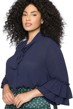 Ladies Plus Size Navy Blue Tie Neck Ruffle Sleeve Blouse