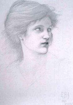 Sir Edward Burne-Jones, female head study for The Sirens