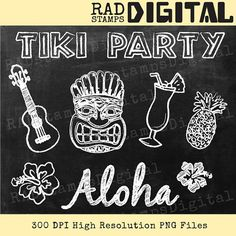Retro Cocktail TIKI PARTY Chalkboard Clipart Digital Stamp Chalk Graphic Instant Download CH10007