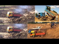 Cat excavator digging pond | Truck drive in and out deep hole | Heavy ma...