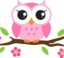 Cute pink cartoon baby owl sitting on a branch with leaves and flowers by MheaDesign