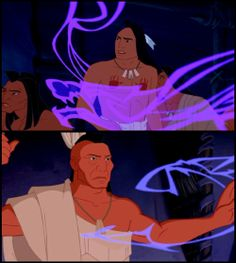 """Pocahontas - In the scene where Kekata reads the smoke to find out more about the white men, he compares them to """"ravaging wolves."""" The wolves then circle Kocoum, and Powhatan stops them with his arm. This foreshadows the end of the movie, when Thomas (a white man and """"wolf"""") kills Kocoum, and Radcliffe attempts to kill Powhatan."""