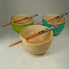 Chopstick Bowl Spun Bamboo large