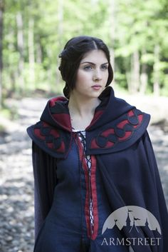 "Medieval SCA Hooded Fantasy Woolen Cloak ""Forget Me Not"""