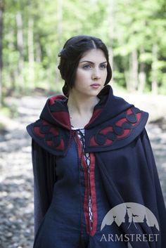 "Medieval SCA Hooded Fantasy Woolen Cloak ""Forget Me Not"""