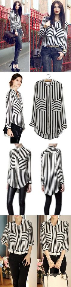af08164a34e40 Shirts Tops 50990  Women Vertical Striped Chiffon T-Shirt Long Sleeve  Button Down Blouse