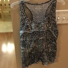 Ruffle shirt Great condition please keep in mind that it is a kids large but fits like a woman's small. Mudd Tops Tank Tops