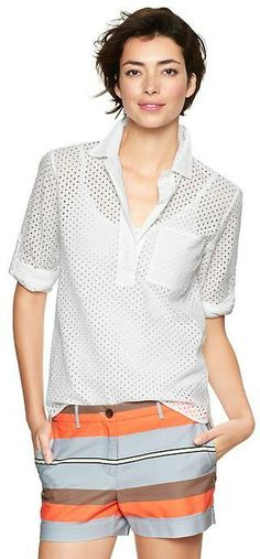 Gap Eyelet roll-sleeve henley top on shopstyle.com