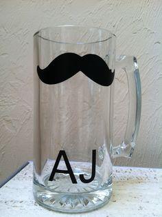 Personalized Chalkboard Mustache Beer Mugs by LetsTalkChalk, $12.00