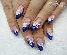 Navy Blue French Gel Nail Polish