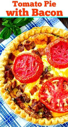 Tomato Pie with Bacon is wonderfully creamy and full of slices of ripe summer tomatoes, salty bacon and mozzarella and cheddar cheese all baked in a buttery pie crust - pizza Vegetable Dishes, Vegetable Recipes, Vegetable Entrees, Bacon Pie, Tomato Pie With Bacon Recipe, Southern Tomato Pie, Back Home, Thanksgiving Recipes, Main Dishes