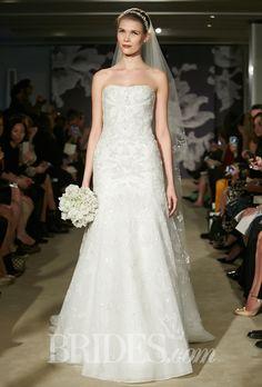 "Brides.com: Carolina Herrera - Spring 2015. ""Clementine"" strapless embroidered tulle trumpet wedding dress, Carolina Herrera"