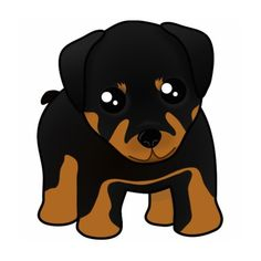 Cute Little Rottweiler Puppy Dog Cartoon Animal Cut Outs found on Polyvore