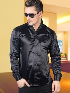 Men's Business Silk Satin Shirt Mens Formal Dress Shirts Bs1246 ...
