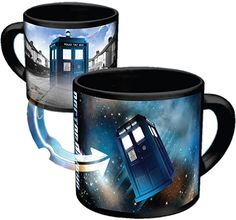 Amazon.com Doctor Who - Disappearing TARDIS Coffee Mug - Add Hot Liquid and Watch The TARDIS Move From London to the Stars - Comes in a Fun Gift Box - by The Unemployed Philosophers Guild  #mug #doctorwho #tardis #ceramic #gift #travel #kitchen #shopping #blue #doctor #police #coffee #tea #hotchocolate