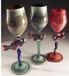 """Funky Fish"" Goblets by Zen Glass"