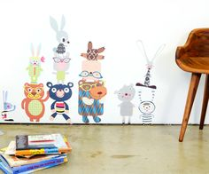 Pop and Lolli Bears and Bunny Rabbits Fabric Wall Decals, available at #polkadotpeacock. #peacocklove #popandlolli