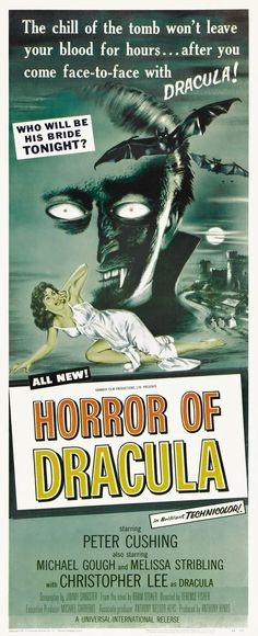 Horror of Dracula (1958) Dracula, Old Movie Posters, Hammer Films, Gothic Horror, Old Movies, The Conjuring, Horror Movies, Science Fiction, Pictures