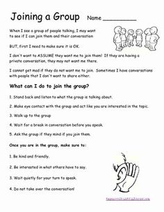 Social Skills - Joining a Group. Repinned by SOS Inc. Resources pinterest.com/sostherapy/.