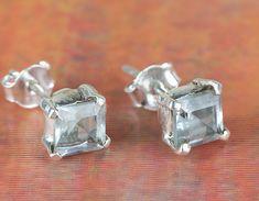 Stud Earrings – Wonderful Silver Blue Topaz Gems Stud BJS-128-BT – a unique…