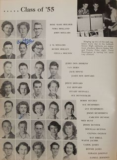 Buddy Holly school yearbook. 1955