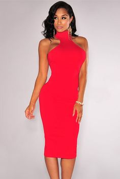 A wardrobe must-have, this mock neck dress is the perfect fit for your fabulous curves. This midi dress is different from other pieces with an elegant mock neckline, close-fitting sexy silhouette with