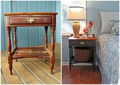 Beachy Rustic Nightstand Before and After (http://blog.hgtv.com/design/2013/06/19/budget-beach-cottage-bedside-table-before-and-after/?soc=pinterest)