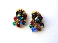 Vintage Glass Cluster Bead Earrings  Vintage by 2VintageGypsies, $22.00