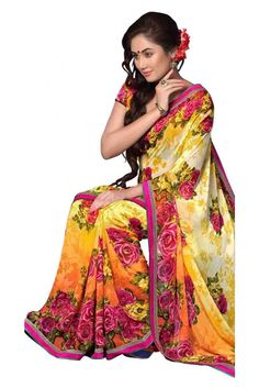 Upscale Yellow Georgette Printed Saree