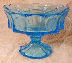 Items similar to Vintage FOSTORIA Geometric Coin Glass Pedestal Bowl in the Turquoise Color C on Etsy My Glass, Glass Jars, Fostoria Glass, Glass Houses, Breakfast Cups, Turquoise Color, Candy Jars, Antique Glass, Vintage Glassware