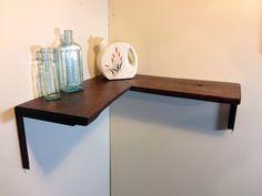 Raw Edge Corner Shelf with Sleek Handcrafted Steel Brackets on Etsy, $169.00