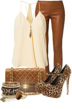 """""""Brown Leather Trousers"""" by elenh2005 on Polyvore"""