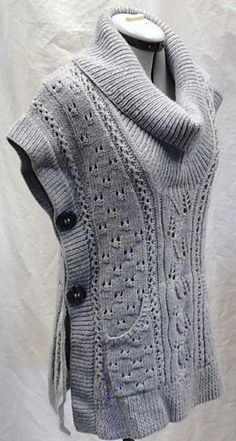 Free knitting pattern for Tabard Vest and more vest knitting patterns