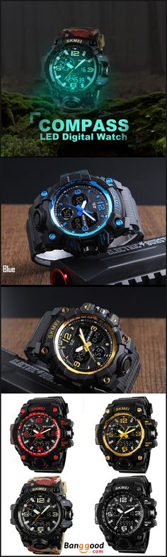 US$9.99 + Free shipping. Time Display, Date Display, Week Display. Fall in love with casual and sport style. SKMEI 1155 50M Waterproof Men Sport Watch Camouflage Compass LED Digital Watch.
