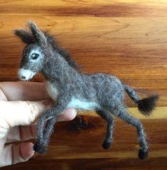 Nadel gefilzt Esel, Miniatur