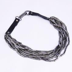 Fashion Black Leather Chain Gray Metal Copper Tube Bib Pendant Necklace