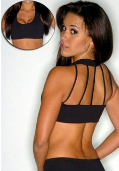 Amazon.com: String Back Sexy Sport Bra with Scoop Neck Front Workout Bra: Clothing