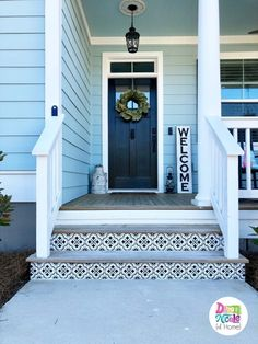 These stenciled faux Spanish Tiles are a super easy and inexpensive way to add major curb appeal! These stenciled faux Spanish Tiles are a super easy and inexpensive way to add major curb appeal! Front Porch Stairs, Front Door Steps, Porch Steps, Porch Tile, Porch Paint, Concrete Porch, Painted Concrete Steps, Stenciled Stairs, Painted Stair Risers