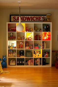 If our play area ever looked this organized, I would die of happiness.  Also, this sandwiches sign makes me laugh.