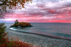 A beautiful fall evening at Hollow Rock on Lake Superior.