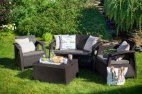 Kanapé + 2 fotel + asztal kerti garnitúra, grafit-világos szürke, CORFU BOX SET