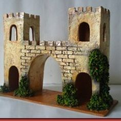 Christmas Crib Ideas, Christmas Nativity, Christmas Decorations, Castle Crafts, Kids Castle, Warhammer Terrain, Cd Crafts, Ceramic Houses, Miniature Houses