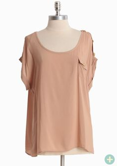 """In Focus Curvy Plus Blouse 29.99 at shopruche.com. Golden hued button closures adorn the shoulders of this lightweight camel colored blouse. A front pocket, a flattering scoop neckline, and cuffed sleeves complete the silhouette.100% Rayon, Imported, 27"""" length from top of shoulders"""
