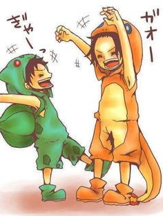Luffy and Ace as Pokemon #OnePiece